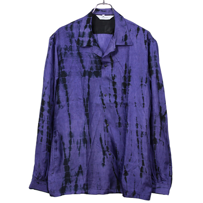 Sasquatchfabrix. [ ORIENTAL TIE DYE OPEN COLLAR SHIRT ] BLACK PATTERN
