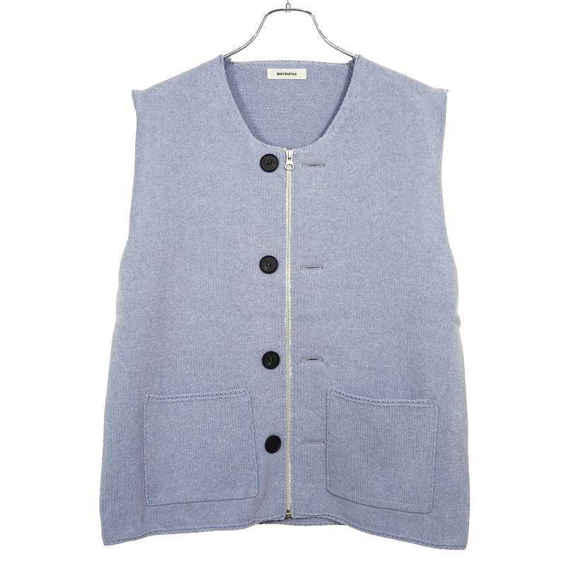 MATSUFUJI [ Modified Farmers Knit Vest ] BLUE