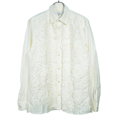 Sasquatchfabrix. [ TAPE EMBROIDERY L/S SHIRT ] WHITE