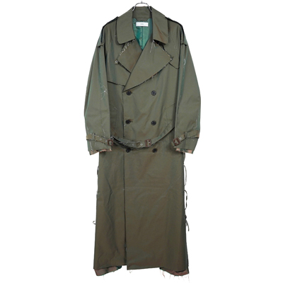 SUGARHILL [ Rawedge Lace-up Trench Coat ] KHAKI