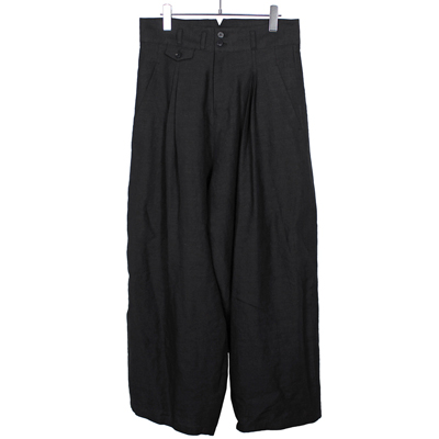 YANTOR [ Linenwool 2tuck Wide Pants ] BLACK