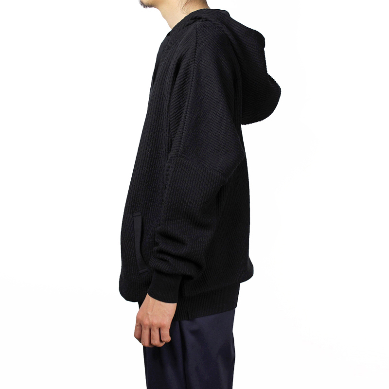 YANTOR [ Cotton Coarsely Knit Hoody ] BLACK