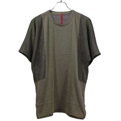 YANTOR [ High Gauge Cotton Knit Cut&Sewn ] KHAKI×BLACK