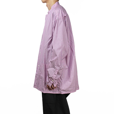 nuterm [ Band Collar Shirts Jacket ] ピンクストライプ
