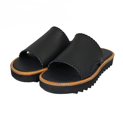 "DAIRIKU [ ""Wyatt"" Hand Stitch Leather Sandal ] Black"