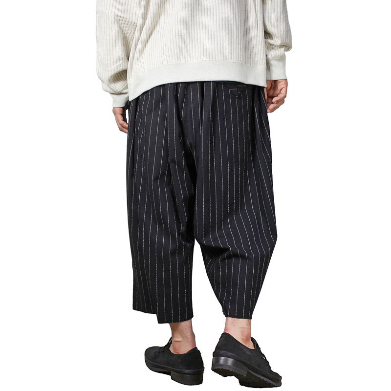 Sasquatchfabrix. [ BIG SILHOUETTE PANTS ] BLACK×WHITE STRIPE
