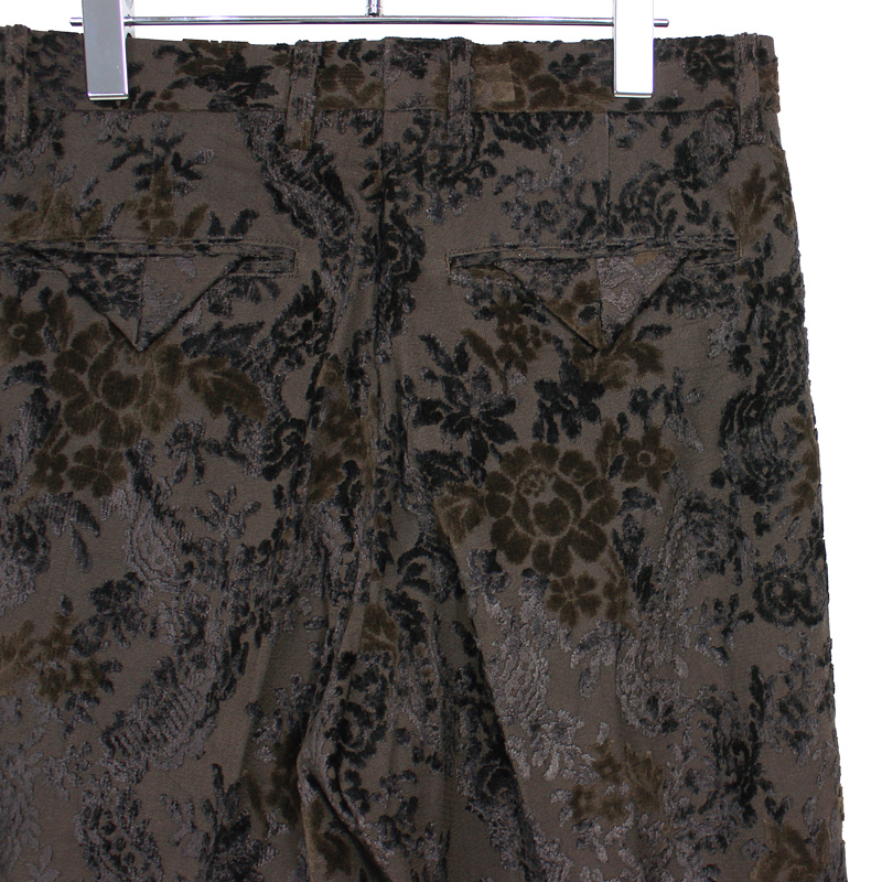 Sasquatchfabrix. [ FLOWER VELVET WIDE SILHOUETTE SLACKS ] BROWN