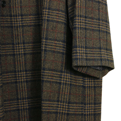 Sasquatchfabrix. [ TWEED ORIENTAL WRAP COAT ] GOLD×NAVY CHECK