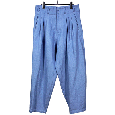 YANTOR [ Bleach 10oz Denim 3tuck Pants ] LIGHTBLUE