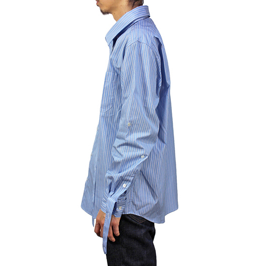 "NEON SIGN [ MOTION SHIRT ""HAIRLINE STRIPE"" ] BL/WH"