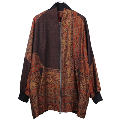 YANTOR [Paisley Jacquard Wool Wide Blouson] ORANGE