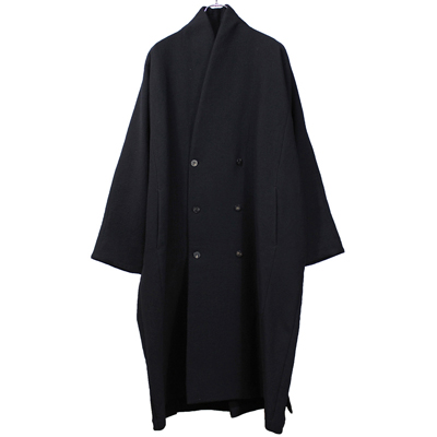 YANTOR [ Cotton Linen Wool Dolman Coat ] BLACK