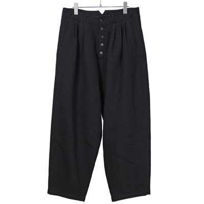 YANTOR [ Cotton Linen Wool 3 tuck pants ] BLACK
