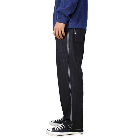 BLACK&BLUE [ Two Tuck Wide Trousers ] ピンストライプ
