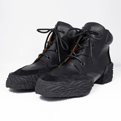 MIDORIKAWA RYO [Lace-up Boots-Carbon×Leather-] BLK