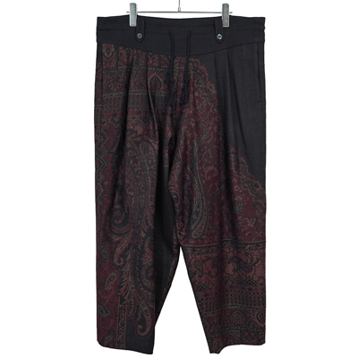 YANTOR [ Tibetan Paisley Jacquard Wool 2tuck Fall Pants ] RED